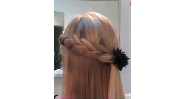 Half-Up French Braid ponytail