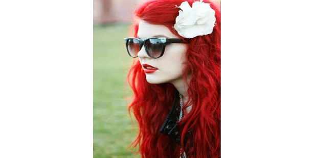 Ruby Red Hair worn long