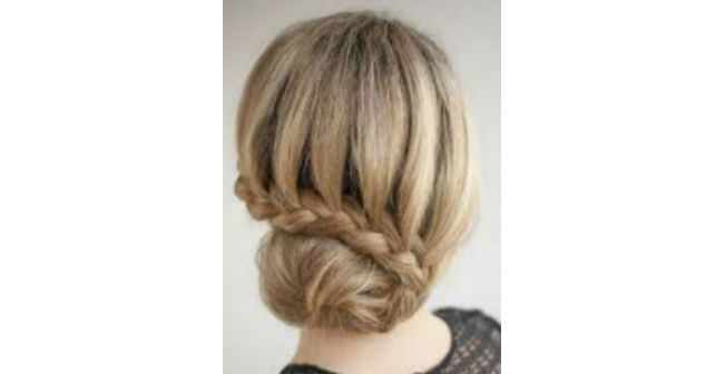 Side French Braid Twist Bun