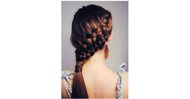 Side French Double Braid Ponytail
