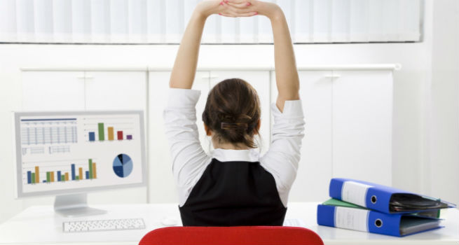 Woman Desk Stretching