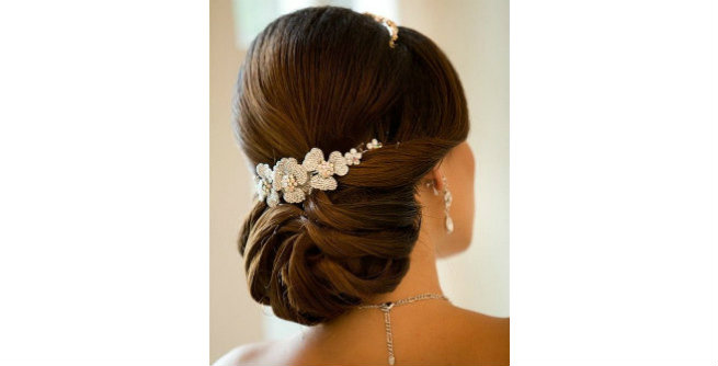 Twisted Low Bun with Puffed Crown