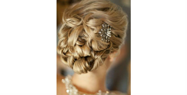 Twisted Updo with Intense Curls