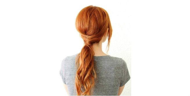 Classy Low Ponytail with Bang and Hair Wrap