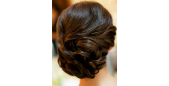 Black Hair Updo with Curls and Waves