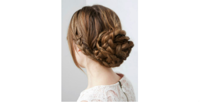 Casual Braided Bun with Side Bang