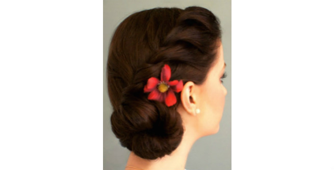 Low Side Bun with Side Twisted Braid