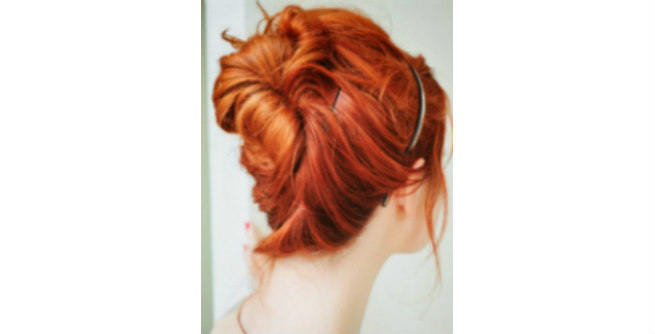 Twisted Red Hair Updo with Headband